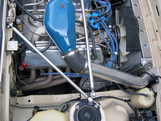 Strut tower brace, cold air pipe,, exhaust header